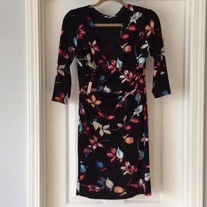 Jennifer Lopez Floral Print Faux Wrap Dress
